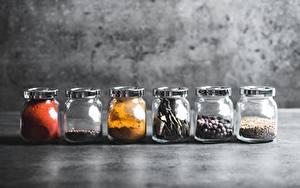 Обои Приправы Перец чёрный Банке oregano, chilli peppers Пища