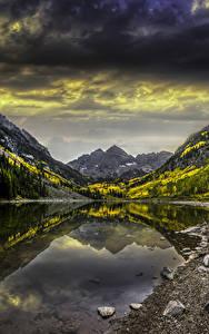 Фотография Штаты Гора Озеро Камень Осень Пейзаж Colorado