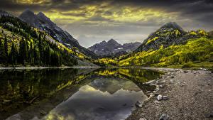 Фотография Штаты Гора Озеро Камень Осень Пейзаж Colorado Природа