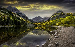 Фотография Штаты Горы Озеро Камень Осенние Пейзаж Colorado Природа