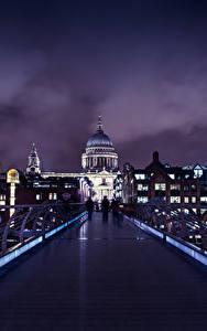 Фотография Великобритания Здания Мосты Лондоне Ночь Города