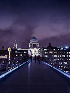 Фотография Великобритания Здания Мост Лондоне Ночь Города