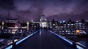Фотография Великобритания Здания Мосты Лондоне Ночь