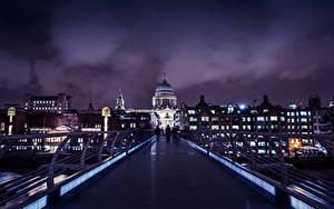 Фотография Великобритания Здания Мост Лондоне Ночь
