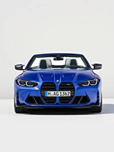 Обои для рабочего стола BMW Кабриолета Синие Металлик Спереди M4 Competition M xDrive Cabrio, (Worldwide), (G83), 2021 машины