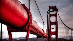 Картинки Вблизи Макросъёмка Мосты Красный Города