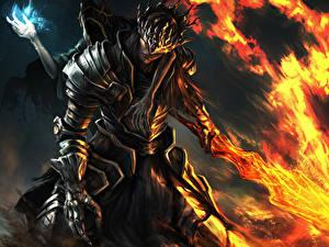 Картинка Dark Souls Воин Огонь Доспехи Меч Фан АРТ 3, Lorian, Lothric Игры Фэнтези