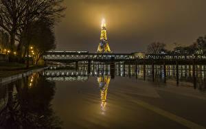 Фото Франция Реки Мосты Париж Ночь Эйфелева башня Города