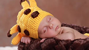Картинки Младенец Шапки Спят Дети