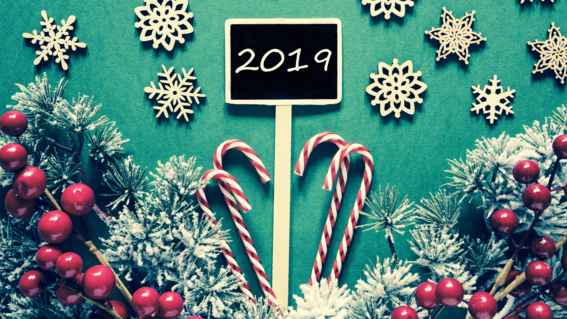 Фото 2019 Рождество Леденцы Снежинки Ветки Ягоды Сладости 1920x1080 Новый год ветвь