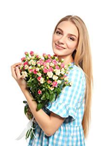 Обои Букеты Розы Белый фон Блондинка Улыбка
