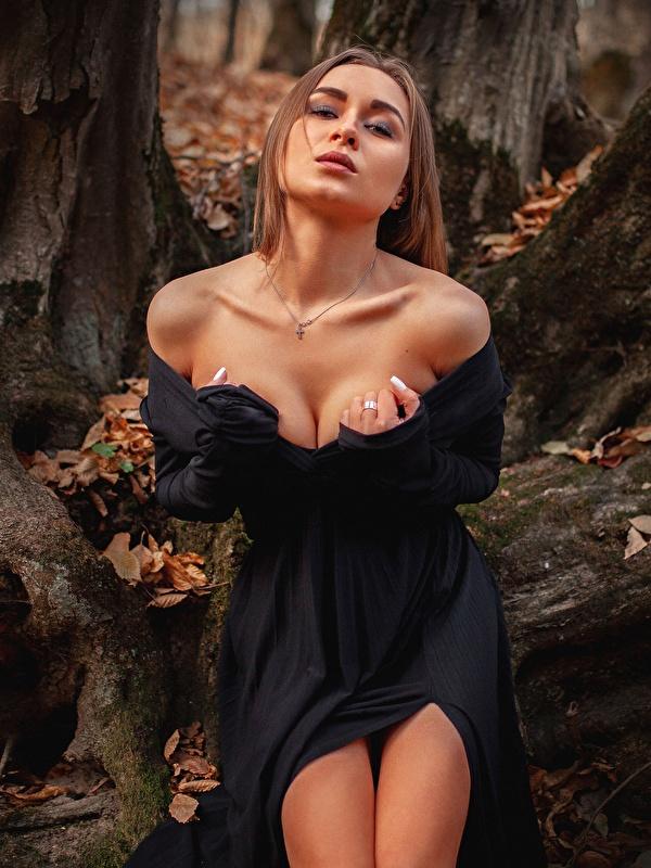 Фотографии Шатенка Aleksei Iurev позирует вырез на платье молодая женщина Руки платья 600x800 для мобильного телефона шатенки Поза Декольте девушка Девушки молодые женщины рука Платье