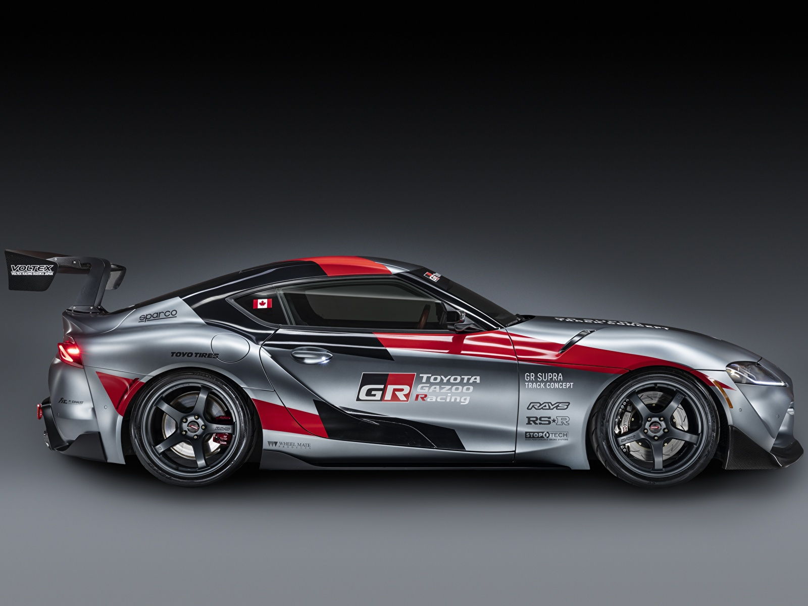 Обои для рабочего стола Тойота GR Supra Track Concept, 2020 Купе Серый авто Сбоку 1600x1200 Toyota серая серые машина машины Автомобили автомобиль