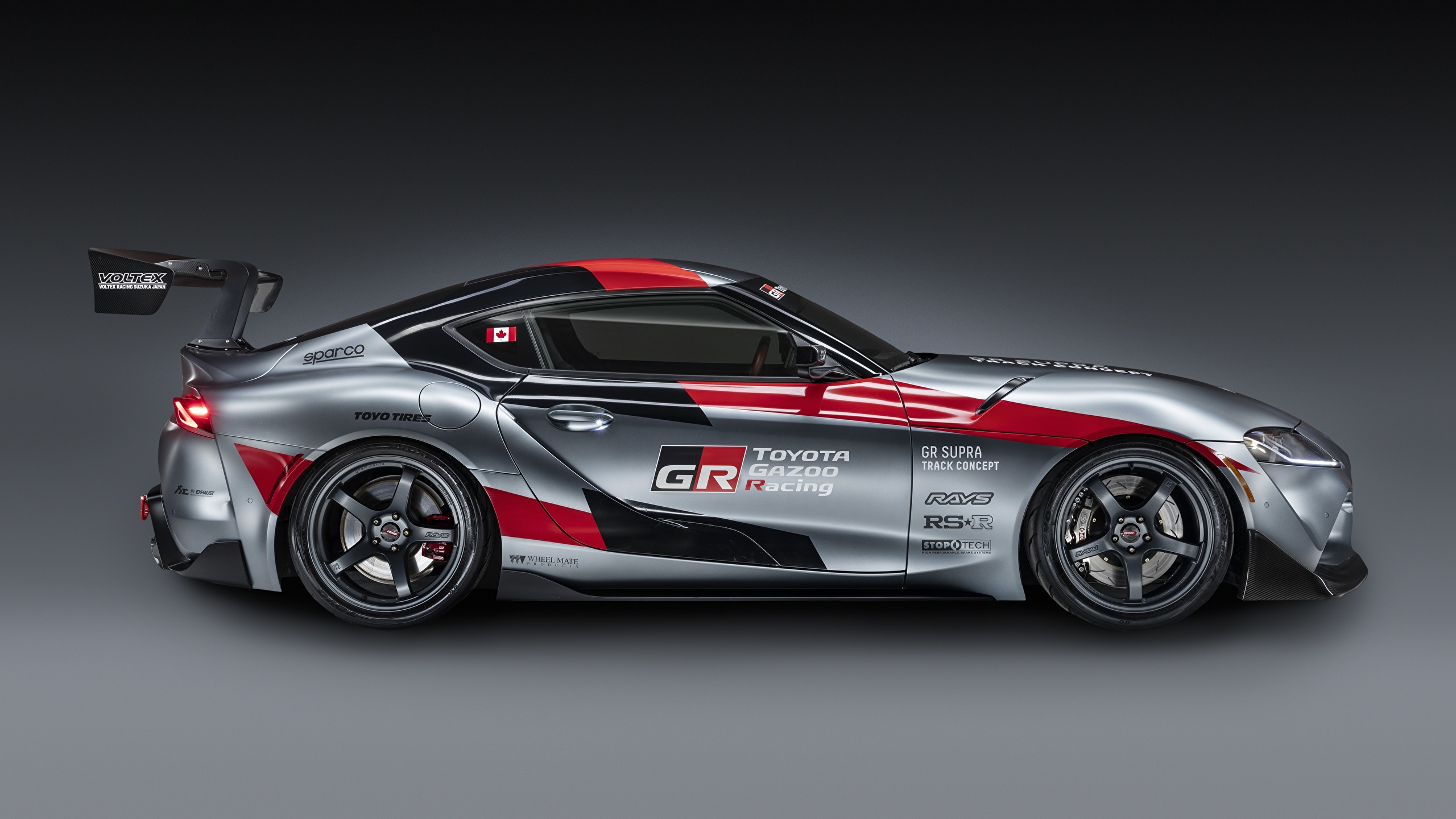 Обои для рабочего стола Тойота GR Supra Track Concept, 2020 Купе Серый авто Сбоку 2560x1440 Toyota серая серые машина машины Автомобили автомобиль
