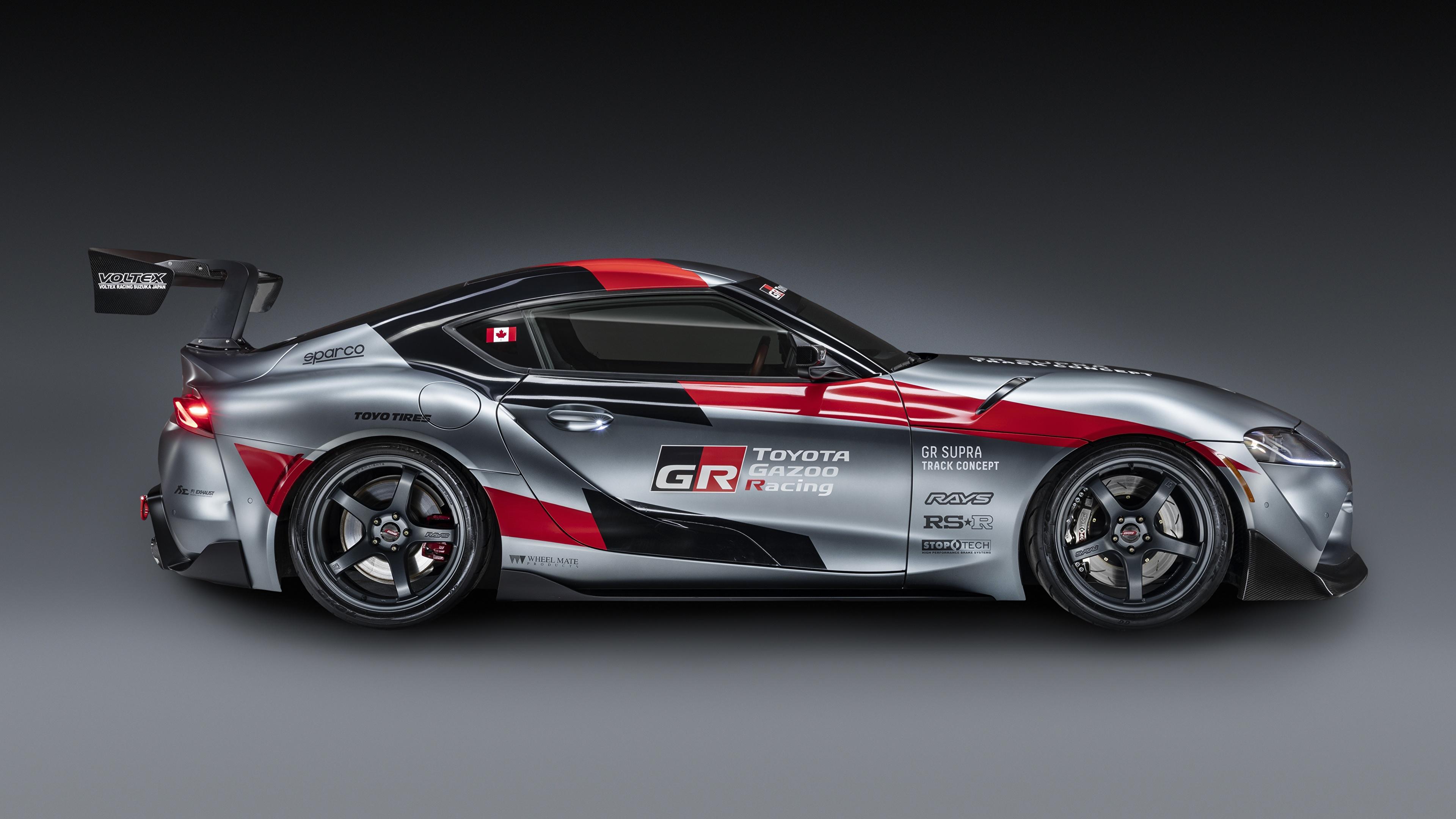 Обои для рабочего стола Тойота GR Supra Track Concept, 2020 Купе Серый авто Сбоку 3840x2160 Toyota серая серые машина машины Автомобили автомобиль