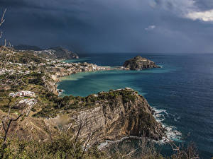 Обои Италия Побережье Море Заливы Утес Panza Природа