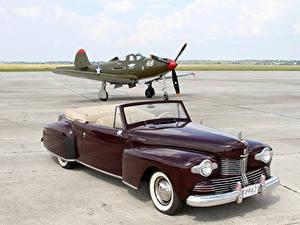 Обои Lincoln Ретро Самолеты Бордовый Металлик Кабриолет 1942 Continental 2-door Cabriolet машина