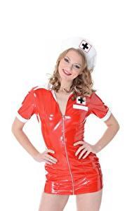 Фотографии Белом фоне Поза Униформе Латекс Медсестры Merry Pie девушка