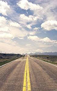 Картинки Дороги Горизонт Асфальт Облака