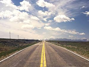 Картинки Дороги Горизонт Асфальт Облака Природа