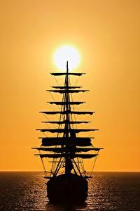 Картинки Корабли Парусные Силуэты Солнце
