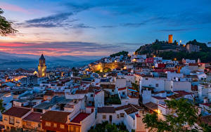 Фото Испания Дома Вечер Крыша Malaga