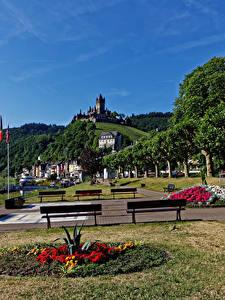 Фото Кохем Германия Дома Замок Парк Скамья Города