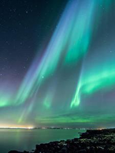 Обои Исландия Небо Побережье Полярное сияние В ночи Природа