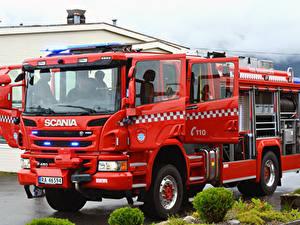 Фото Сканиа Пожарный автомобиль Красный 2017 P450 4×4 Egenes brandbil Машины