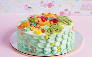 Картинки Сладкая еда Торты Фрукты Дизайна Продукты питания