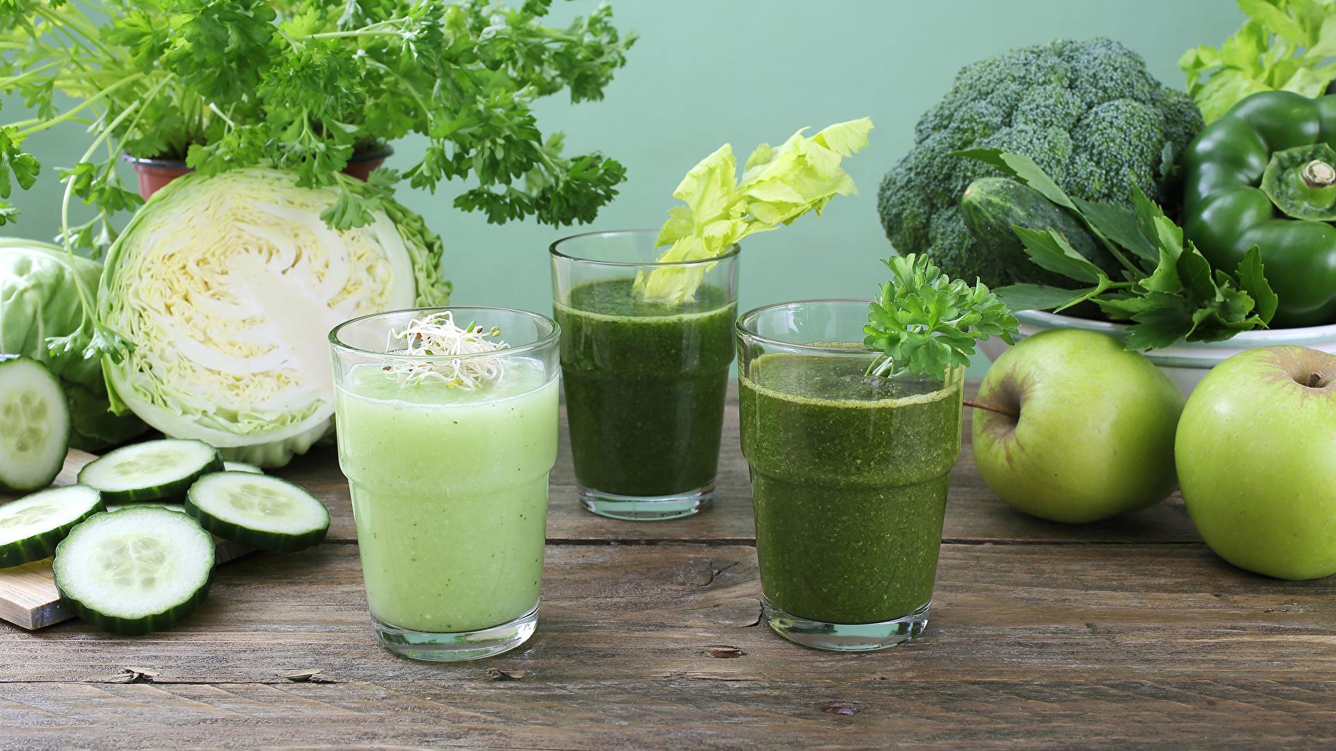Фотографии Смузи Огурцы Капуста Яблоки стакана Еда Овощи 1920x1080 Стакан стакане Пища Продукты питания