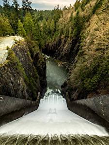 Картинка Канада Водопады Лес Ванкувер Скалы Плотина Cleveland Dam Природа