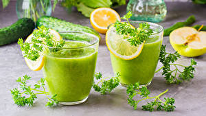 Фото Смузи Лимоны Овощи Стакан 2