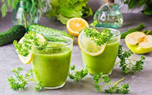 Фото Смузи Лимоны Овощи Стакан 2 Пища
