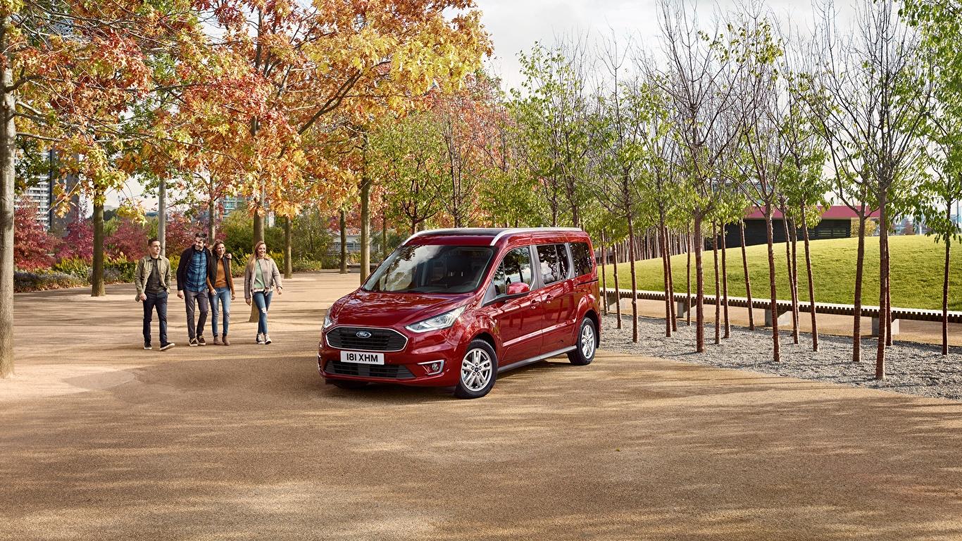 Картинки Форд 2018 Grand Tourneo Connect Worldwide темно красный Машины Металлик 1366x768 Ford Бордовый бордовые бордовая Авто Автомобили