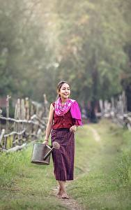Картинка Азиатка Забор Тропы Траве Девушки