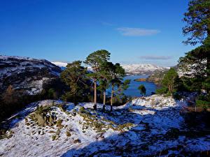 Фото Англия Реки Зима Холм Дерево Снеге Patterdale Природа