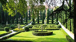 Фотографии Италия Верона Сады Скульптура Дизайн Газоне Кустов Giusti Garden Природа