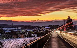 Фотография Япония Здания Дороги Рассветы и закаты Зимние Ограда Numata Города