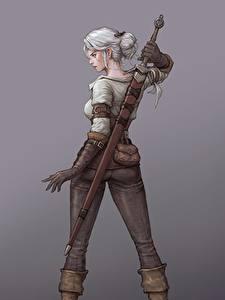 Фотография The Witcher 3: Wild Hunt Рисованные Воители Вид сзади Фан АРТ Серый фон Меча Блондинка Ciri Игры Девушки Фэнтези