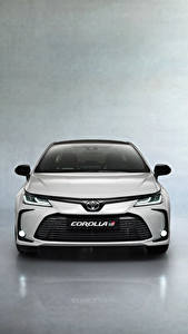 Обои Toyota Спереди Белые Металлик Corolla Hybrid Sedan GR Sport, 2020 авто
