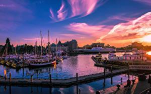 Картинки Канада Рассветы и закаты Здания Пирсы Корабли Катера Вечер Залив Victoria British Colombia Города