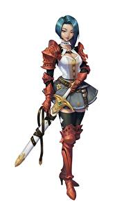 Фото Воин Белый фон Мечи Доспехе Soyun Won, Red Knight Фэнтези Девушки