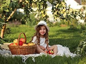Картинки Яблоки Девочка Улыбается Сидящие Корзина Шляпы Траве ребёнок