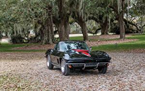 Фотографии Chevrolet Старинные Металлик Черная 1967 Corvette Sting Ray L68 427-400 HP автомобиль