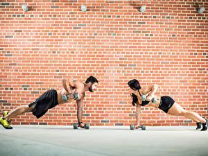 Фотография Фитнес Мужчины Стены 2 Гантелями Из кирпича Физическое упражнение спортивный Девушки