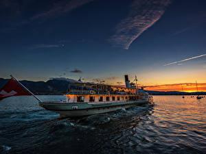 Картинка Швейцария Озеро Рассветы и закаты Корабль Речные суда Lake Thun