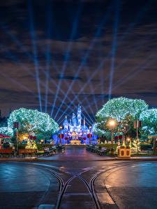 Фото США Диснейленд Парки Дороги Калифорния Анахайм Дизайн Ночные Уличные фонари Города