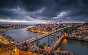 Фотография Португалия Порту Реки Мосты Дома Вечер Vila Nova de Gaia Dom Luís I Bridge Города