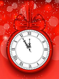 Фотографии Рождество Часы Красный фон Бантик